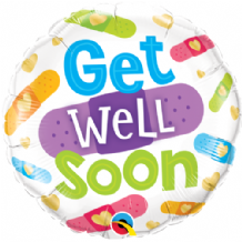 "Get Well Soon Bandages Foil Balloon (18"") 1pc"
